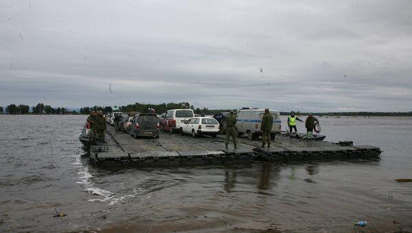 Паром на затопленном участке трассы Хабаровск-Комсомольск-на-Амуре