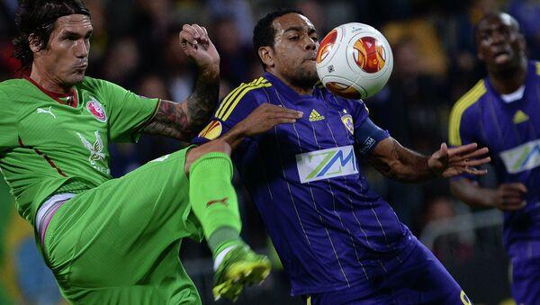 Игровой момент матча Марибор - Рубин