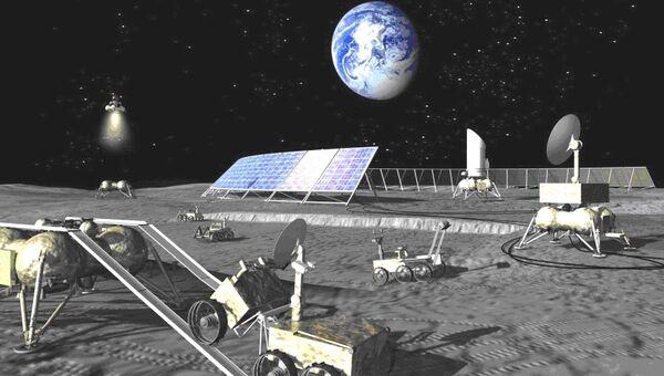 Будущая российская лунная база глазами художника