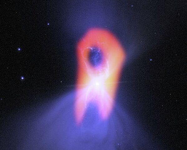 Туманность Бумеранг на снимке с радиотелескопа ALMA, фоновый снимок - с телескопа Хаббл