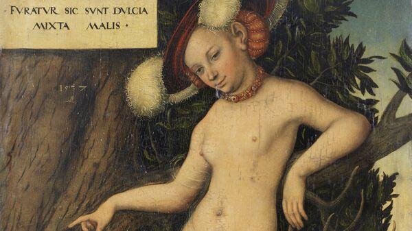 Картина немецкого мастера XVI века Лукаса Кранаха Старшего Венера и Амур, 1537 год