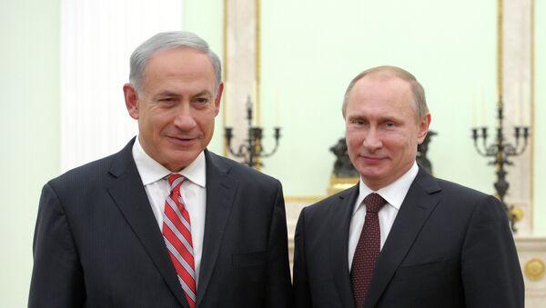 Президент России Владимир Путин и премьер-министр Израиля Биньямин Нетаньяху. Фото с места события
