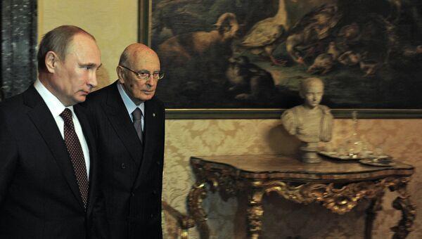Владимир Путин во время встречи с Джорждо Наполитано в Риме. Фото с места события