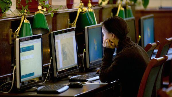Посетительница в Российской государственной библиотеке в Москве