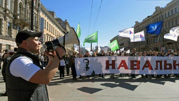 Андрей Пивоваров на акции в поддержку Алексея Навального в Петербурге. Архивное фото