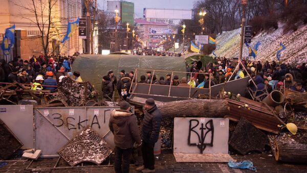Сторонники евроинтеграции возвели баррикаду у здания кабинета министров Украины в Киеве.