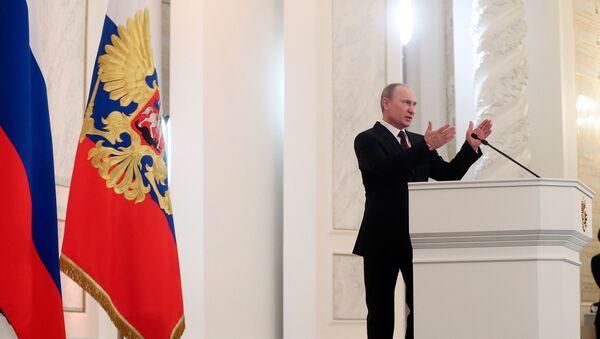 Президент России Владимир Путин во время оглашения ежегодного послания президента Российской Федерации Федеральному Собранию в Георгиевском зале Кремля.