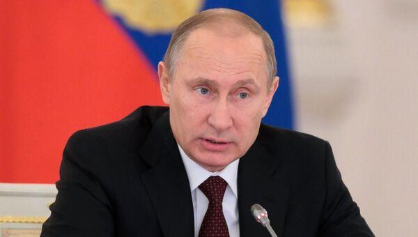 Президент России Владимир Путин на заседании Государственного совета РФ, фото с места события