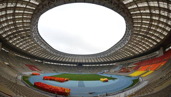 Стадион Лужники, где идет реконструкция к чемпионату мира по футболу 2018