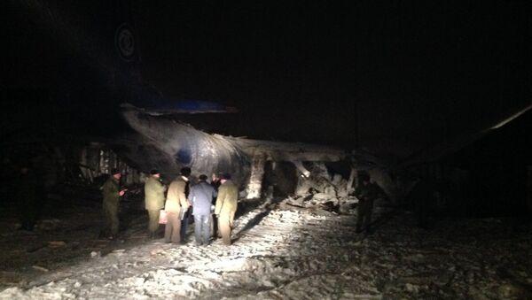 Кадры с места крушения самолета Ан-12 под Иркутском