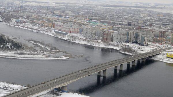 Красноярск, виды города, Октябрьский мост