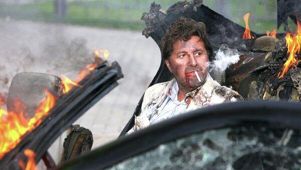 Актер Леонид Ярмольник в роли Кащея Бессмертного во время съемок фильма Самая реальная сказка