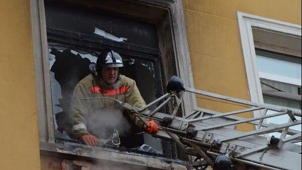 Пожар на ул. Мира в Красноярске