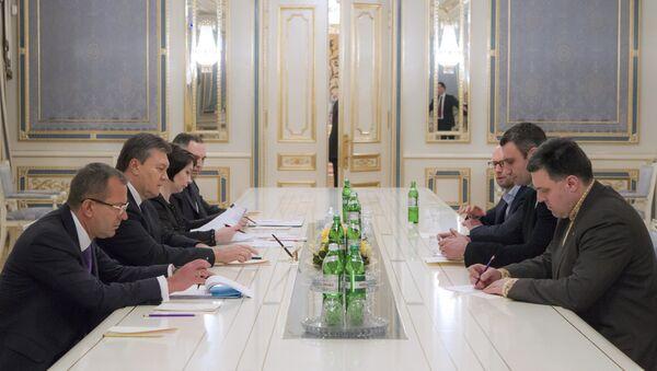 Встреча Виктора Януковича с лидерами оппозиционных парламентских фракций. Архивное фото