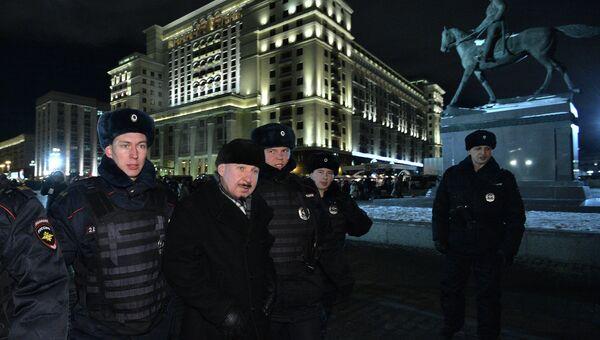 Во время акции в поддержку обвиняемых по болотному делу на Манежной площади
