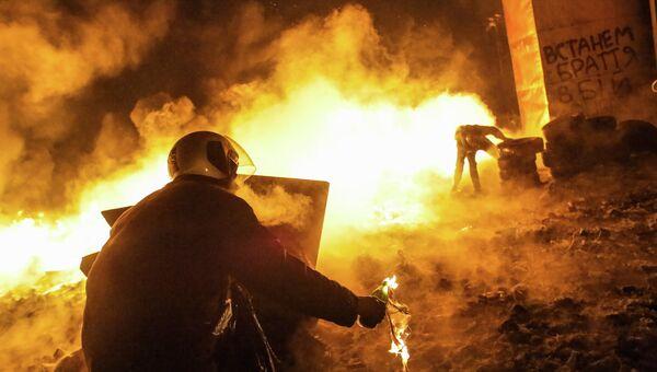 Во время столкновений протестующих с милицией в центре Киева