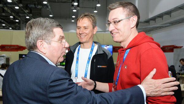 Визит президента МОК Т.Баха в офис агентства РИА Новости в Главном медиацентре
