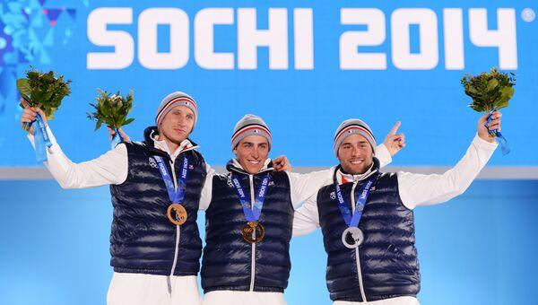 Жонатан Мидоль (Франция) - бронзовая медаль, Жан-Фредерик Шапюи (Франция) - золотая медаль, Арно Боволента (Франция) - серебряная медаль