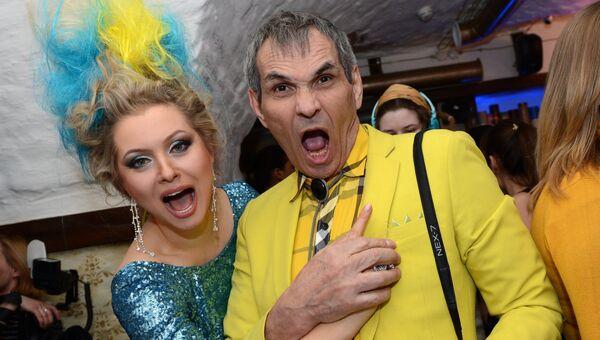 Писательница Лена Ленина и продюсер Барри Алибасов на вечеринке в честь чемпионов сочинской Олимпиады
