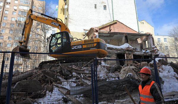 Акция у сносимого здания в Большом Козихинском переулке в Москве