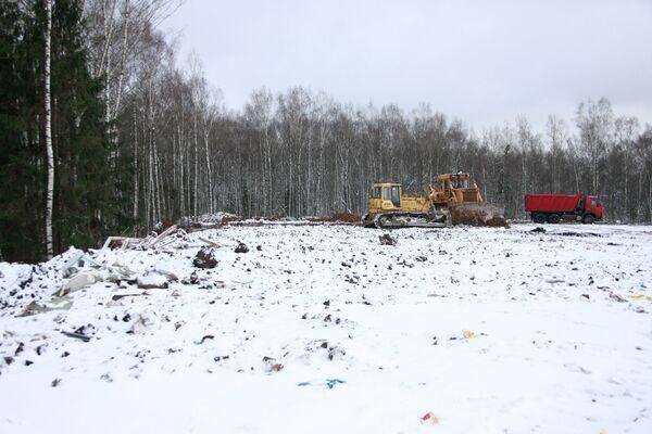Место будущего строительства автотрассы в Химкинском лесу