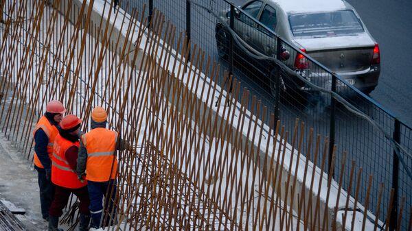 Строительство развязки на Новорязанском шоссе в Москве