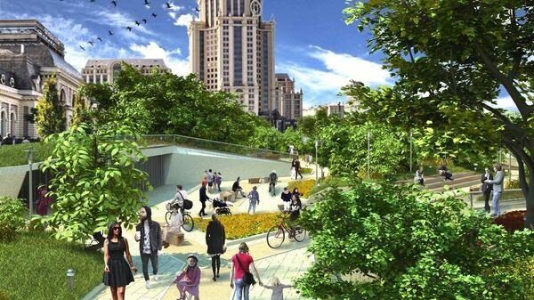 Проект парка на площади Павелецкого вокзала