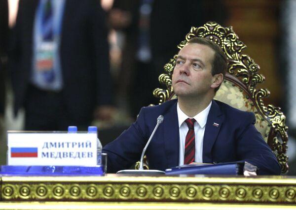 Премьер-министр РФ Д.Медведев принимает участие в заседании Совета глав правительств СНГ в Душанбе
