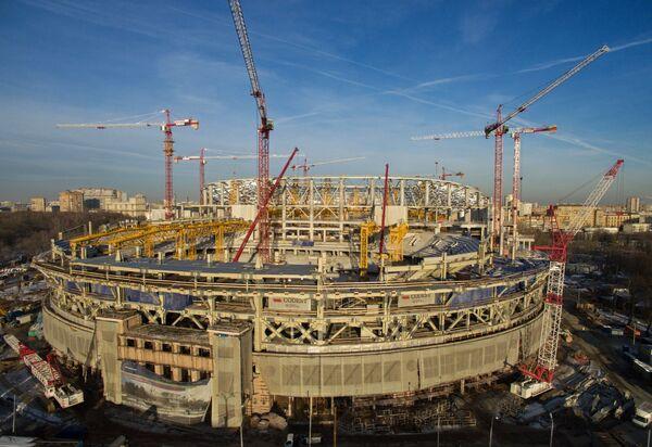 Строительство стадиона Динамо в Москве