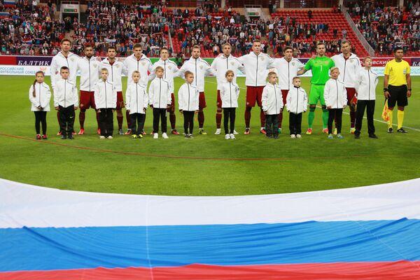 Футболисты сборной России перед началом товарищеского матча между сборными России и Ганы