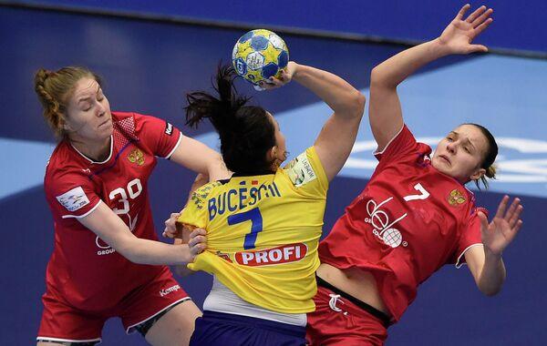 Игровой момент матча Румыния - Россия