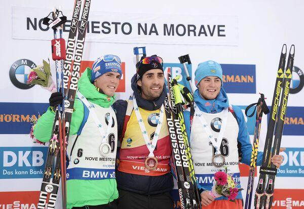 Симон Шемпп, Мартен Фуркад и Антон Бабиков (слева направо)