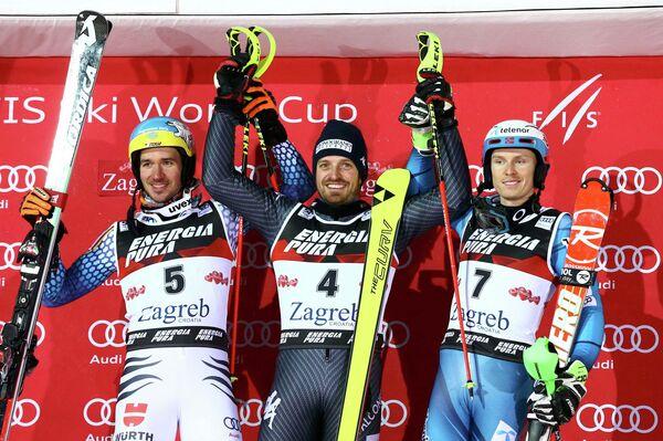 Немец Феликс Нойройтер, итальянец Манфред Мёльгг и норвежец Хенрика Кристофферсена (слева направо)