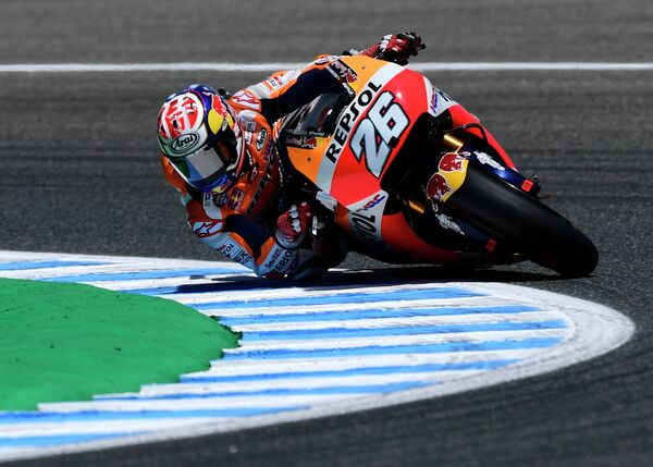 Испанский мотогонщик Дани Педроса из команды Repsol Honda