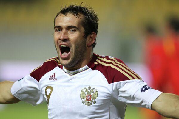 Нападающий сборной России Александр Кержаков в октябре 2010 года