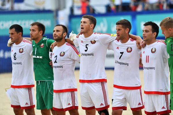 Игроки сборной Белоруссии по пляжному футболу