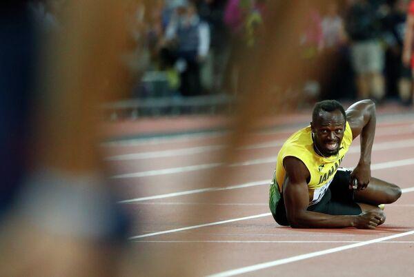 Усэйн Болт в финале эстафеты 4 по 100 метров