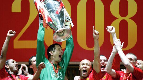 Футболисты Манчестер Юнайтед радуются победе в московском финале Лиги чемпионов в 2008 году