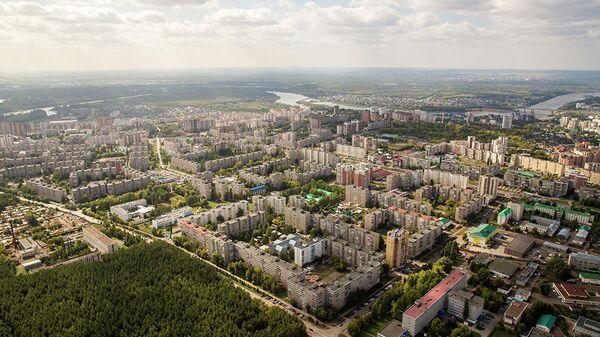 Вид с воздуха на город Уфа