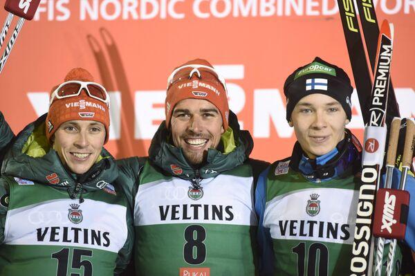 Немцы Эрик Френцель и Йоханнес Ридзек и финн Ээро Хирвонен (слева направо)