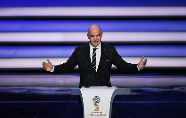 Президент ФИФА Джанни Инфантино на официальной жеребьевке чемпионата мира-2018 по футболу