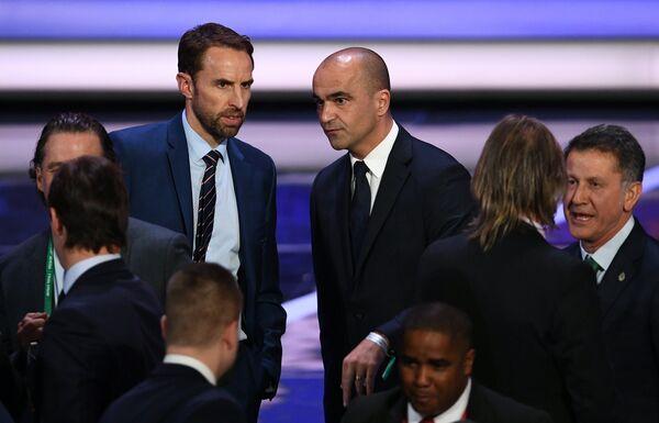 Главный тренер сборной Англии Гарет Саутгейт (слева) и главный тренер сборной Бельгии Роберто Мартинес
