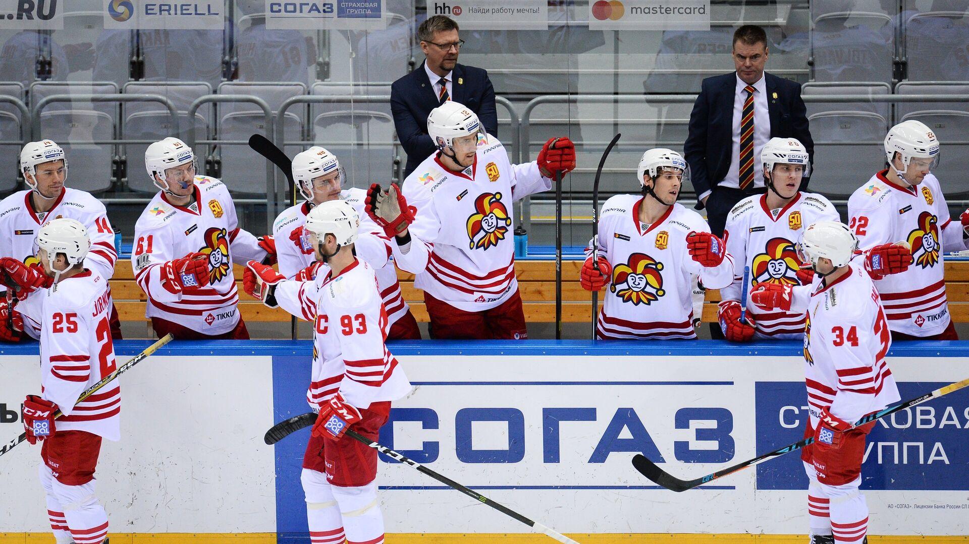 Хоккеисты Йокерита радуются забитой шайбе - РИА Новости, 1920, 03.09.2020