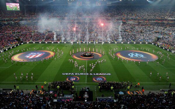 Церемония открытия финала Лиги Европы между Атлетико и Марселем в Лионе