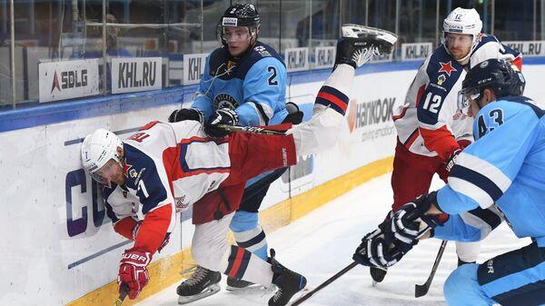 Игровой момент матча Сибирь - ЦСКА