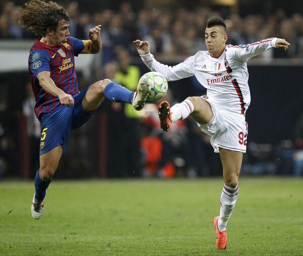 Игровой момент матча Милан - Барселона