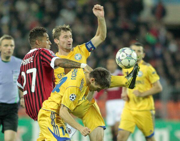 Игровой момент матча БАТЭ - Милан