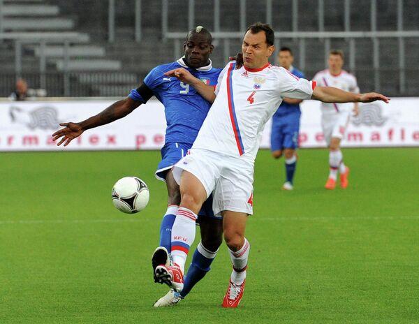 Игровой момент матча сборных России и Италии