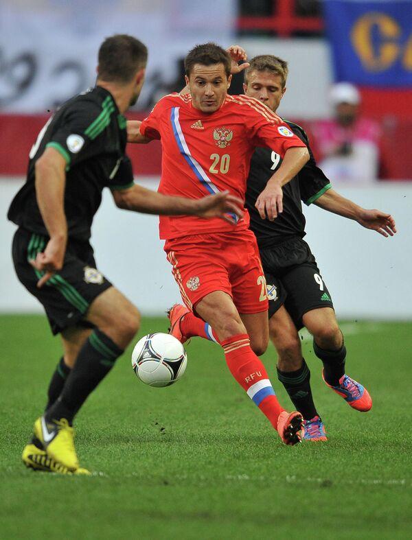 Игровой момент матча Россия - С. Ирландия