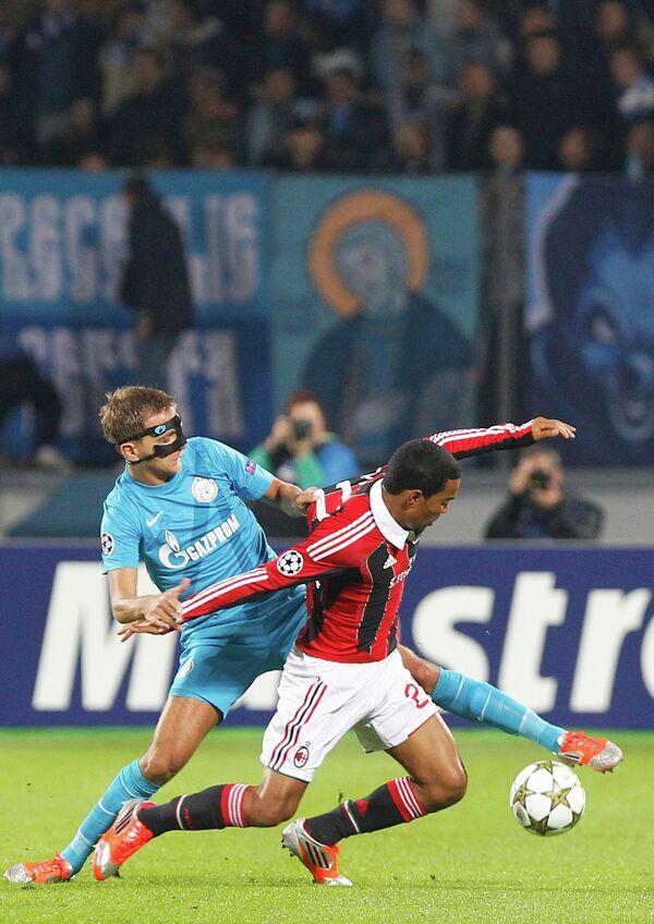 Игровой момент матча Зенит - Милан